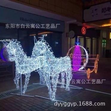 大型商场酒店广场公园户外LED美陈灯光造型灯光节装饰发光鹿拉车
