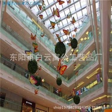 商场酒店购物中心春季夏季中庭美陈吊挂装饰 仿真花球蝴蝶展厅