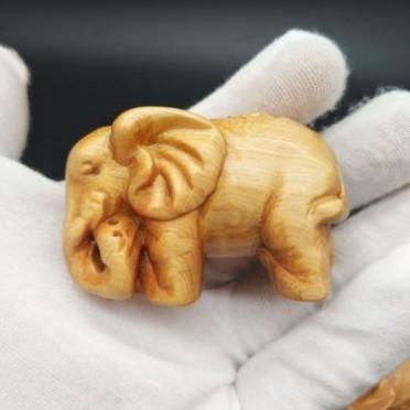 崖柏木手把件富贵象 木雕工艺品 夜市景区热卖摆件工艺品 仙游木