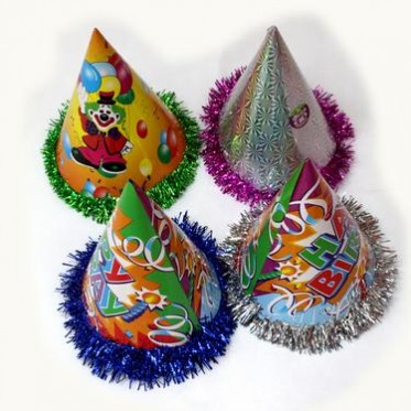 厂家直销24cm花边生日帽派对节日喜庆用品生日帽介宝工艺品制造