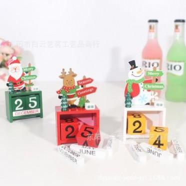 圣诞节创意礼品木制日历装饰摆件小型迷你木质日期圣诞装饰用品