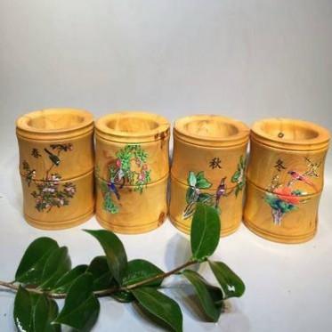 太行崖柏水彩竹节木质笔筒 商务自用书桌中式办公工艺品摆件定制