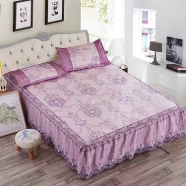 潮牌新款夏季冰丝席蕾丝花边床裙式凉席三件套可水洗可折叠空调席