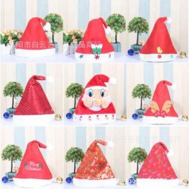 圣诞节装饰品无纺布圣诞帽成人红色圣诞帽儿童圣诞帽子鹿角带灯帽