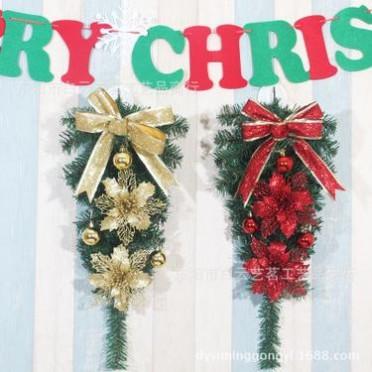 圣诞节装饰品倒挂圣诞树60CM圣诞树套餐半边树酒店橱窗门头布置