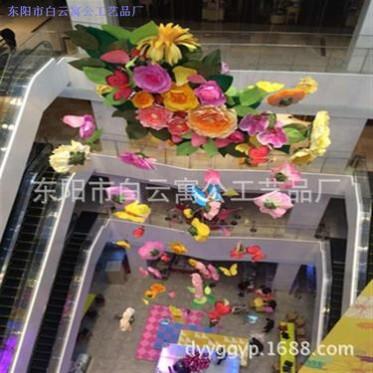 商场酒店购物中心中庭中空美陈装饰春季开业庆典 纸艺仿真花展厅