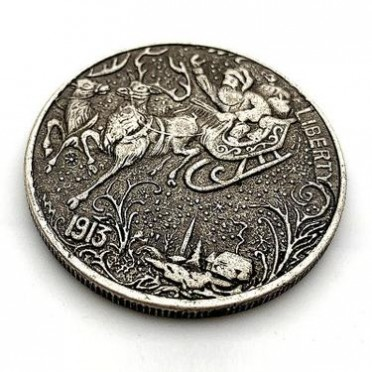 圣诞雪橇羚羊老人彩铃黄铜仿古旧铜银纪念章 收藏铜送礼物纪念币