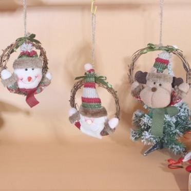新款圣诞节装饰用品圣诞装饰花环藤圈圣诞树挂件橱窗妆扮道具花圈
