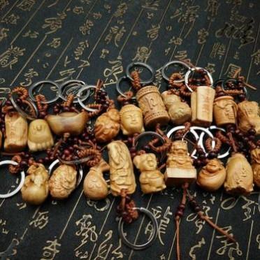 厂家批发太行崖柏汽车钥匙扣挂件饰品木质工艺品小把件创意小吊坠