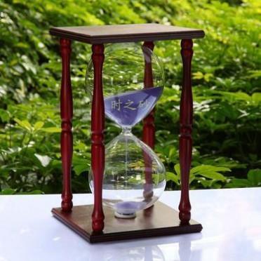 时之砂木制60分钟沙漏计时器商务礼品答谢客户实用玻璃制品摆件品
