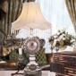 厂家直销欧式仿古复古时钟台灯三用仿古电话 卧室床头灯客厅书房